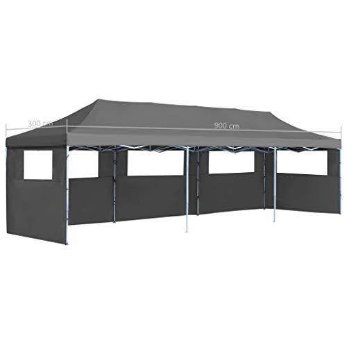 Festnight Tente de Reception Tente de Jardin chapiteau Jardin Résistance aux UV et à l'eau tonnelle Pliable 3×9 m Anthracite 5 parois
