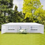 Fookduoduo Tonnelle d'extérieur 3 x 3 m/3 x 6 m/3 x 9 m, étanche et très résistante, pour mariages, événements avec parois latérales amovibles, tube en acier épais (3 x 9 m + 5 côtés)