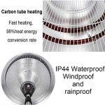Gxing Parasol Chauffant Électrique 2.1/3KW pour Chauffage De Terrasse pour Extérieur, Chauffant Infrarouge Terrasse, Réglable en 3 Niveaux, Pied Télescopique Réglable en Hauteur 160-210cm