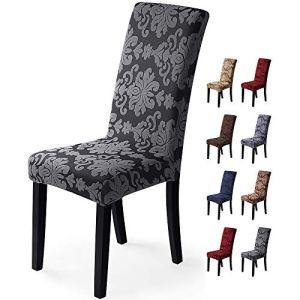 Housse de chaise 6 pièces Housse de Salle à Manger Jacquard Pattern Couverture de chaise de Amovible Lavable Housse de Protection très Facile à Nettoyer et Durable (Paquet de 6, Jacquard -Bleu Gris)