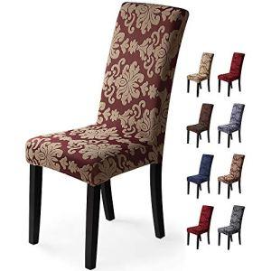 Housse de chaise 6pièces Housse de Salle à Manger Jacquard Pattern Couverture de chaise de Amovible Lavable Housse de Protection très Facile à Nettoyer et Durable (Paquet de 6,Jacquard -Rouille Rouge)