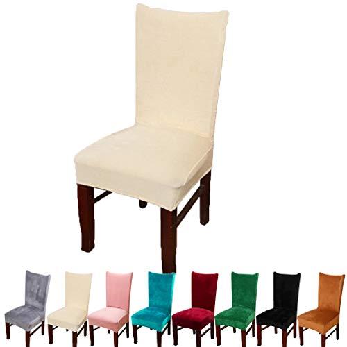 MINGZJ Stretch Housses pour Chaises,Amovible Lavable à Court Housse de Chaise, Housses de Tabouret pour Décoration de Chaise (Beige, 4-Pièces)