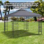 Outsunny Toile de Rechange pour pavillon tonnelle Tente 3 x 3 m Polyester Haute densité 180 g/m² Gris