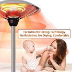RJJBYY Chauffage de terrasse électrique de table, mini parasol chauffant de terrasse moderne, chauffage extérieur en acier inoxydable, 2100 W