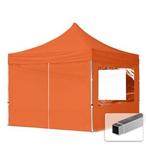 TOOLPORT Tente Pliante 3×3 m – 4 côtés Aluminium Barnum Chapiteau Pliant Tonnelle Stand Paddock Réception Abri PES300 Orange