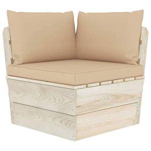 vidaXL Epicéa Imprégné Canapé d'angle Palette de Jardin avec Coussins Meuble de Jardin Canapé d'Extérieur Patio Salon Terrasse Intérieur