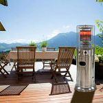 ZXYSR Chauffage de terrasse portable à gaz, sans niveau de contrôle de la température 13 W, chauffage de terrasse à poulie 30–120 ㎡, brasero de terrasse noir, gaz liquéfié