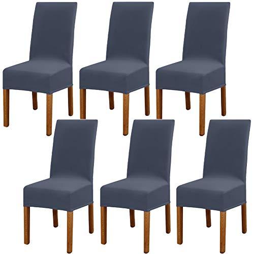 6 Pièces Leeyunbee Housse de Chaise Moderne élastique, Amovible Lavable Extensible Housses de Chaise de Salle à Manger, Couverture de Chaise pour Décor Salle à Manger, Hôtel et Mariage (Bleu Gris)