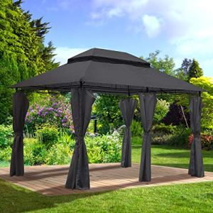 BRAST Tonnelle de Jardin 3×4 Easiness 2,65 H Anthracite, étanche/imperméable, très Stable, 100% Acier revêtu de PA – pavillon de Jardin 3x4m