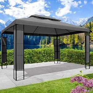 BRAST Tonnelle de jardin 3×4 imperméable BREEZE 2,7 H anthracite + LEDs , étanche, très stable, 100% acier thermolaqué de PA – pavillon de jardin 3x4m