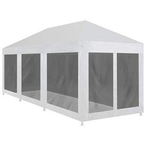 HUANGDANSP Tente de réception avec 8 parois en Maille 9 x 3 m Maison Jardin Pelouses Jardins Vie en extérieur Structures extérieures Auvents abris