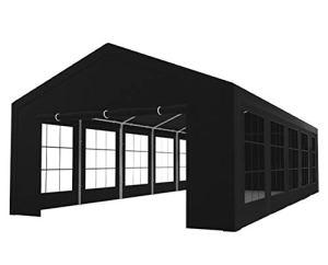 Tente de réception 5x10m Semi Professionnelle 180 GR/m² PE Noir tonnelle de Jardin