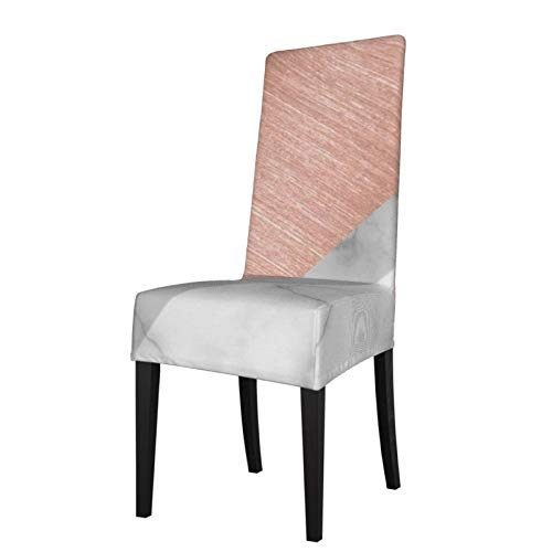 Uliykon Housse de chaise de salle à manger extensible, couleur or rose et marbre élasthanne élastique amovible et lavable Housse de protection pour salle à manger, cuisine, hôtel, cérémonie, fête