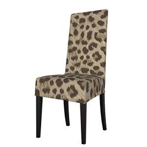 Uliykon Housse de chaise de salle à manger extensible, motif animal marron clair, élasthanne, élastique, amovible et lavable pour salle à manger, cuisine, hôtel, cérémonie, fête