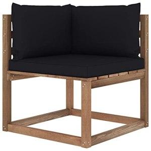 vidaXL Canapé d'angle Palette de Jardin avec Coussins Canapé d'angle de Patio Meuble de Terrasse Canapé d'Extérieur Arrière-Cour Noir
