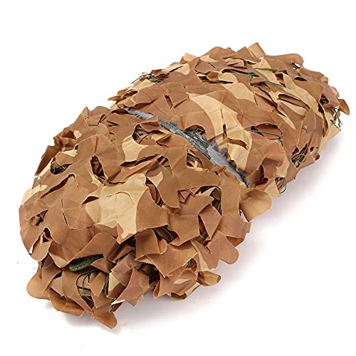 filet camouflage renforce desert filet de camouflage ombrage,abri militaire Militaire Couverture,Pour jardin, loisirs, camping, fête, bar, décoration de chasse(Size:3x6m/9.84×19.68FT,Color:désert)