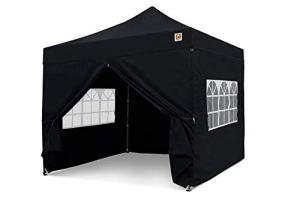 Gorilla Gazebo ® Pop Up 3 x 3 m Robuste et étanche de qualité commerciale avec 4 panneaux latéraux et sac de transport à roulettes (Noir)