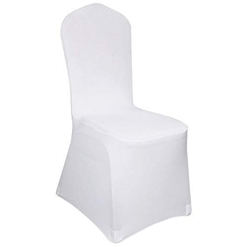Hengda Housse de Chaise,100 pièces Blanches Housses de Chaise universelles Chaise élastique pour Mariages et célébrations Facile d'entretien et Durable