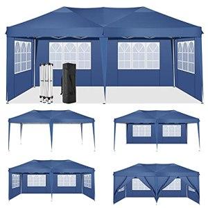 HOTEEL Tente de Reception 3x6m Tonnelle de Jardin Imperméable Tonnelle Pliante Gazebo de Jardin avec 6 Côtés (3×6 m, Bleu)