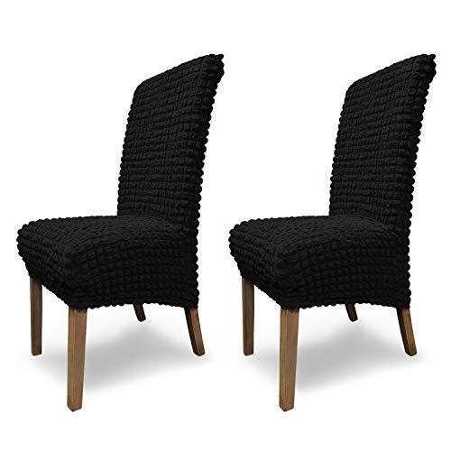 SCHEFFLER-Home Housse de Chaise Extensible « Julia » / Lot de 2 / Noir / Housse de Chaise élastique / Housse Extensible avec élastique et Cordon / Housse de Chaise élégante