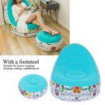 SZHWLKJ Canapé gonflable portable et confortable avec repose-pieds pour salon et balcon Bleu 116 x 98 x 83 cm