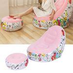 SZHWLKJ Canapé gonflable portable et confortable avec repose-pieds pour salon et balcon Rose