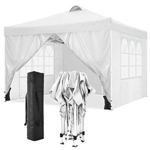 TOOLUCK Tonnelle Pliante 3x3m Tonnelle de Jardin Imperméable Tente Reception Pavillon de Jardin avec 4 Côtés, Sacs de Sable, Air Évents (3×3 M, Blanc)