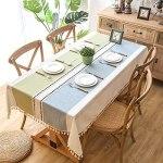 TYXL Nappe à Pampilles, Housse de Table Anti-poussière, pour la décoration de Table de Cuisine à Manger de Ferme (140 × 180 cm, Cendre de Roche)