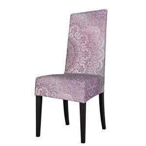 Uliykon Housse de chaise de salle à manger extensible, motif cachemire mauve, mandala, élasthanne, élastique, amovible et lavable, pour salle à manger, cuisine, hôtel, cérémonie, fête