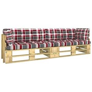vidaXL Pin Imprégné de Vert Canapé Palette 2 Places avec Coussins Meuble de Terrasse Meuble de Jardin Canapé d'Extérieur Canapé de Patio Salon