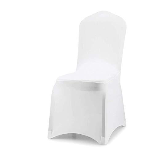 VINGO Housse de Chaise 100 pièces, Stretch Chair Cover Universel Moderne Blanc Unie Polyester Spandex, pour de Mariage/à Domicile Décoration