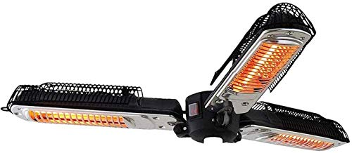 ZHANGZ Parasol chauffant électrique d'extérieur – Protection de 2000 W – Radiateur infrarouge pliable pour pergola de jardin, gazabo – Noir