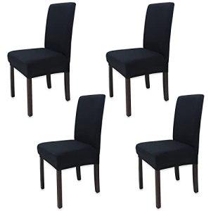 4 Pièces Leeyunbee Housse de Chaise Moderne élastique, Amovible Lavable Extensible Housses de Chaise de Salle à Manger, Couverture de Chaise pour Décor Salle à Manger, Hôtel et Mariage (Noir)