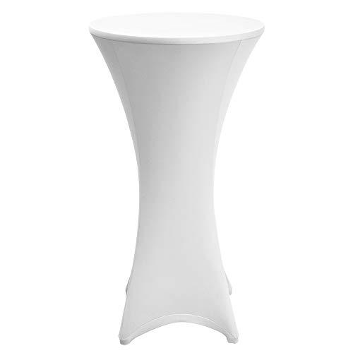 Beautissu Housse de table de bistrot – Mange debout – Deco Cocktail – Stretch spandex – Stella – 80-85cm – Blanc