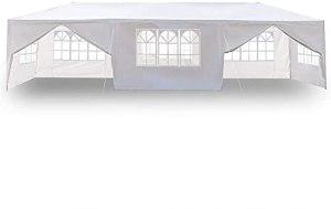 EWYI Grand Gazebo De Jardin Tente De Fête Abri De Fête 3 X 9 M Gazebo pour Mariage, 100% Étanche, Huit Côtés Deux Portes Tente Étanche avec Tubes en Spirale