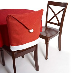 Forum Housse de chaise en forme de chapeau de Père Noël 45,7 x 71,1 cm Décoration de table Rouge/blanc