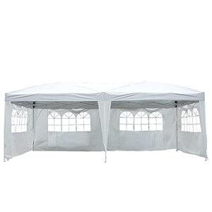 HOMCOM Tonnelle Pliante – Tente de réception – 3 x 6 m – pavillon chapiteau Barnum – 3 cotés démontables – piquets d'ancrage au Sol + Sac de Transport Inclus Blanc
