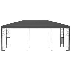 Ksodgun Pavillon Multifonctionnel Moderne,Pavillon extérieur Pratique en Fibre de Polyester Anthracite 6 x 3 x 2,6 m (Longueur x Largeur x Hauteur) – avec Cadre décoratif en Forme de Croix