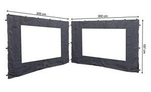 QUICK STAR 2 panneaux latéraux avec fenêtre PE 300x197cm Anthracite pour Gazebo 3x3m