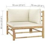 Tidyard Canapé d'angle de Jardin ou Patio avec Coussins Canapé d'extérieur Bambou Blanc crème