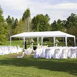 Tonnelle de Jardin Tonnelle Pliante Imperméable Tente de Reception 3X9m avec 8 Parois aux UV Pavillon Blanc Bâche PE Epaisse de env pour Fête Marriage Les Activités Commerciales