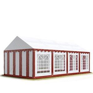 TOOLPORT 4×8 m Tente de réception/Barnum Rouge-Blanc Toile de Haute qualité env. 500g/m² PVC
