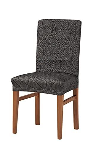 Zebra Textil Alexia Housse de Chaise élastique, Tissu, Gris, Dossier