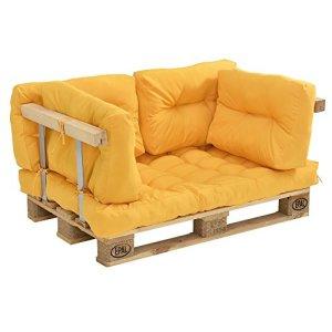 [en.casa] Coussins pour palettes – kit de 5 – Coussin de siège + Coussins de Dossier [moutard] Canapé de palettes in/Outdoor