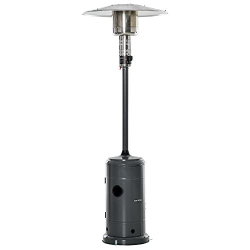 Parasol Chauffant Commercial 12,5 KW – Chauffage d'extérieur gaz – Chauffage de terrasse – Double sécurité – Puissance réglable – roulettes – Acier INOX. Gris