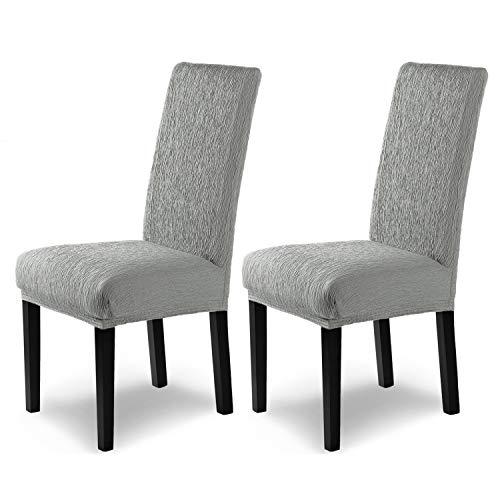 SCHEFFLER-Home Housse de Chaise élastique « Jara » / Lot de 2 / Gris / Couverture Spandex / Housse de Chaise / revêtement pour chaises et sièges