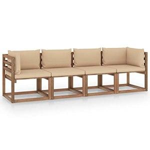 Susany Canapé Palette de Jardin canapé d'extérieur 4 Places avec Coussins Pin imprégné