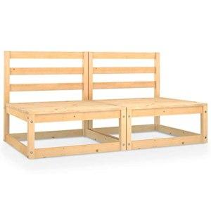vidaXL Bois de Pin Solide Canapé à 2 Places de Jardin Sofa de Terrasse Canapé d'Extérieur Meuble de Terrasse Meuble d'Extérieur Canapé de Patio