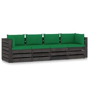 vidaXL Bois Imprégné de Gris Canapé de Jardin 4 Places avec Coussins Meuble de Terrasse Canapé d'Extérieur Sofa de Jardin Sofa de Terrasse