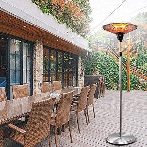 ZHEYANG Appareils de Chauffage Extérieur Parasol Chauffant Garden Heater Chauffe-terrasse électrique Autonome extérieur 2KW – Chauffe-Espace à Hauteur réglable G08013 Jardin d'hiver